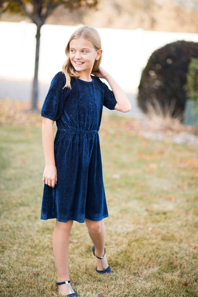 Farrah Sparkly Velvet Dress in Navy