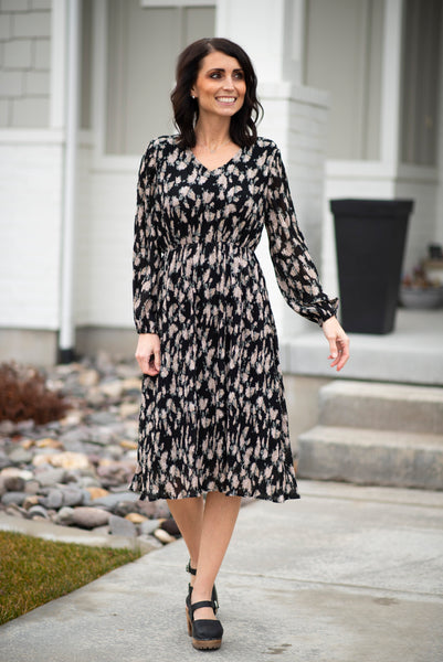 Kathleen Printed Dress in Black