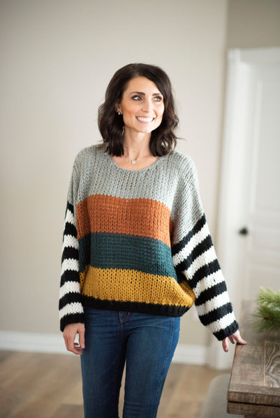 Sawyer Multi Colored Sweater in Rust