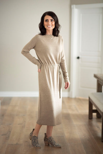 Pippa Sweater Dress in Camel