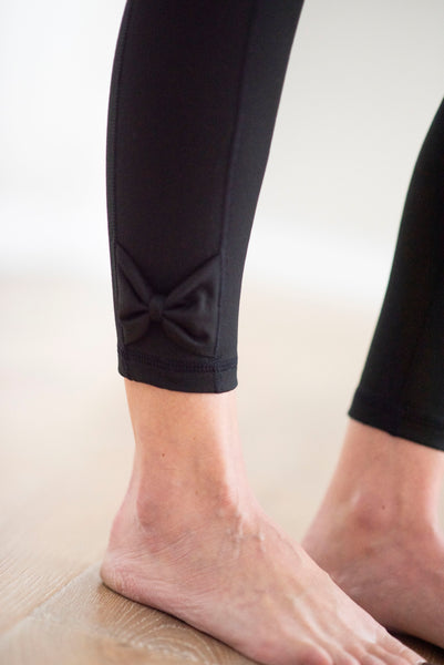 Journey Black Leggings with Bow Accent