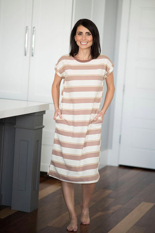 Chaney Striped Tee Shirt Dress