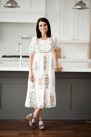 Laurie Embroidered Dress in White