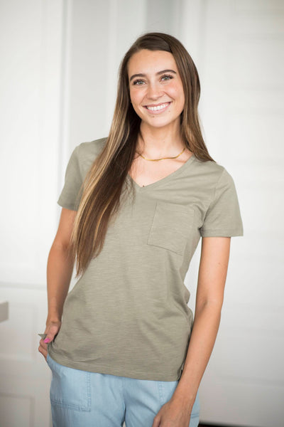 Heather V Neck Tee in Olive