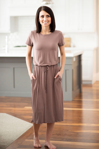 Ezra Elastic Waist Dress in Cappuccino