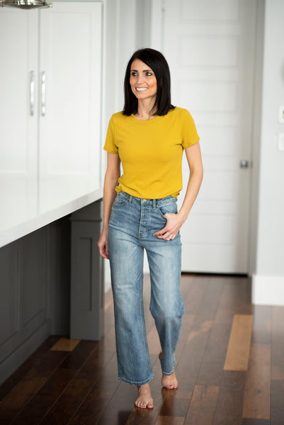 Eisley Ribbed Top in Mustard
