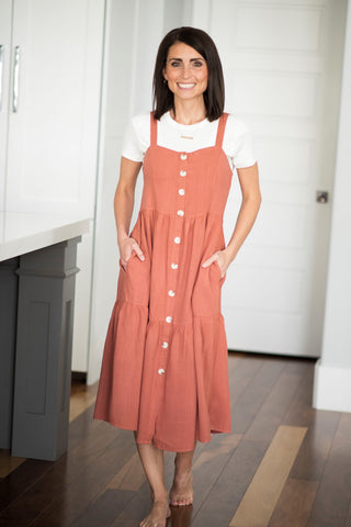 Kenzee Jumper Dress in Terracotta
