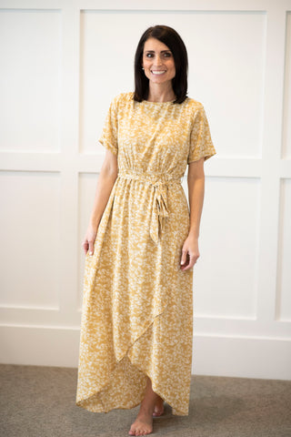 Belle Floral Dress in Mustard