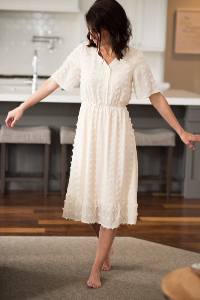 Annalisa Pom Pom Dress in Ivory