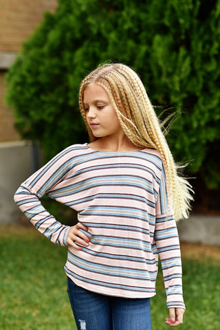 Crystal Stripe Dolman Top