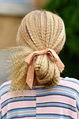 Camel Dot Bow Scrunchie