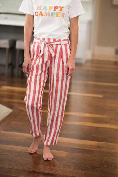 Winn Tie Front Stripe Pants in Red
