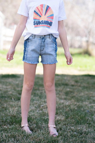 Two-Tone Denim Shorts for Girls