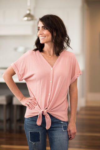 Brittany Tie Front V Neck in Mauve