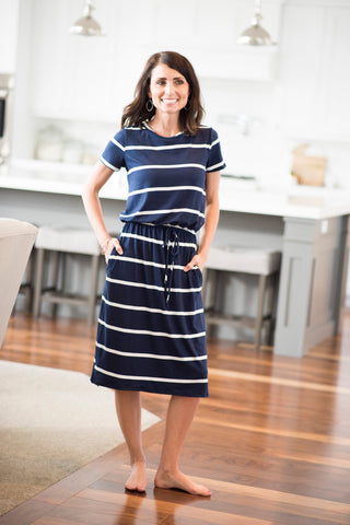 Ezra Elastic Waist Dress in Navy Stripe