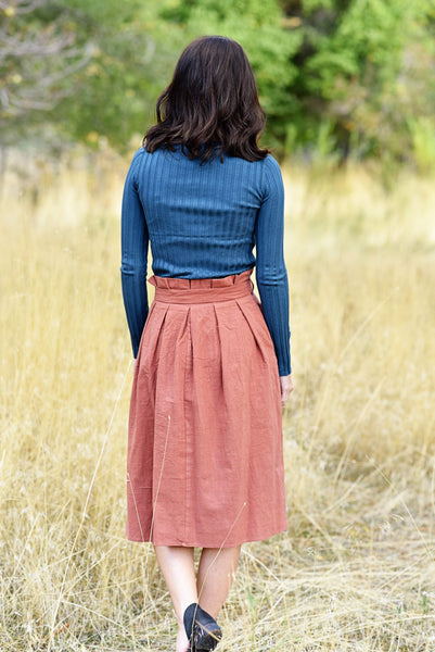 Tori Waist Tie Midi Skirt in Rust