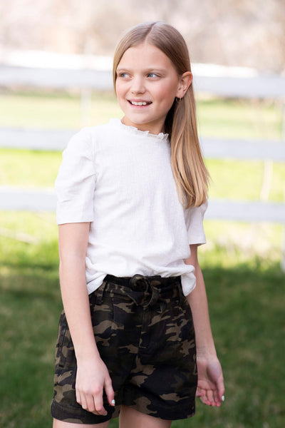 Camo Tie Front Shorts for Girls