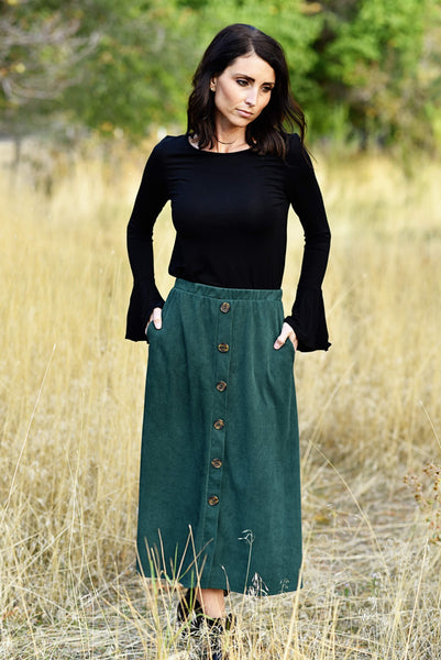 Gretel Corduroy Button Skirt
