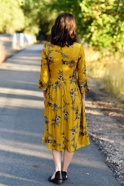 Rainy Floral Bell Sleeve Dress in Mustard