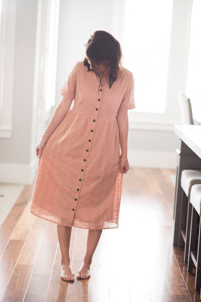 Tess Eyelet Dress in Dusty Pink