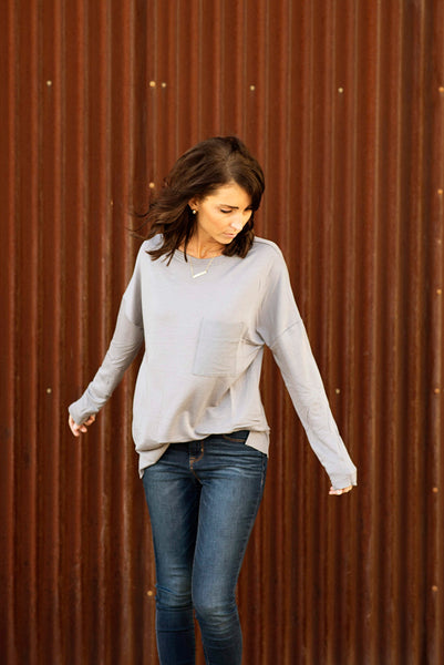 Dawn Knit Top in Grey