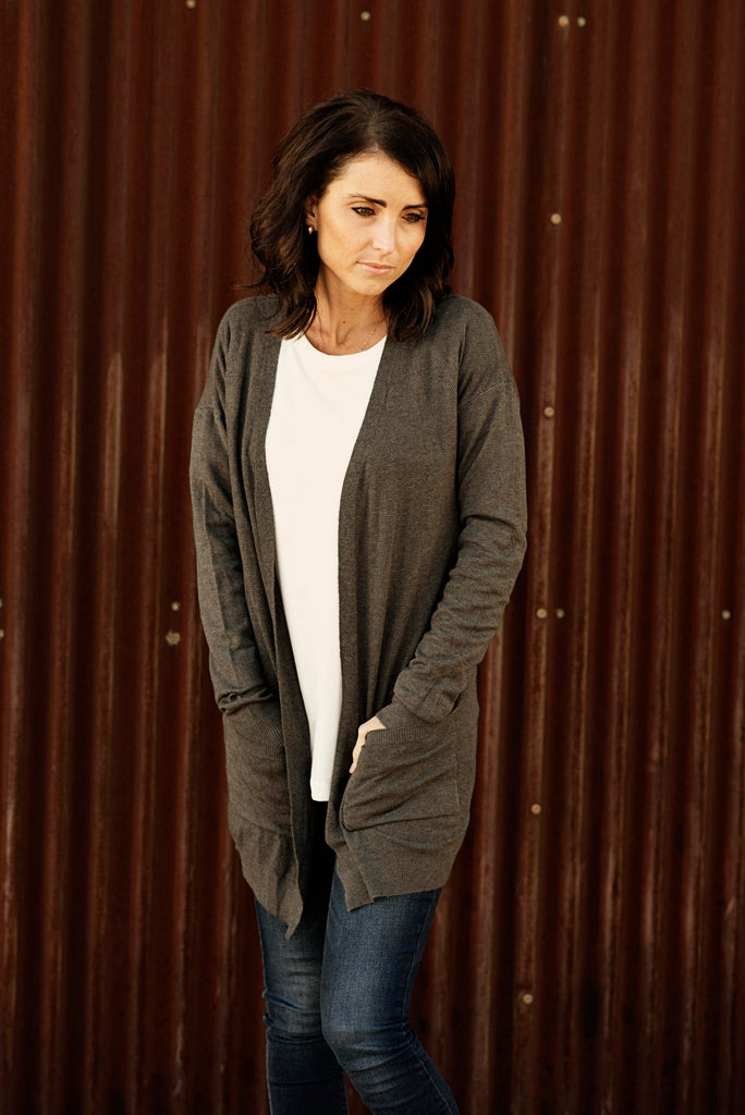 Carly Open Front Textured Cardigan in Charcoal