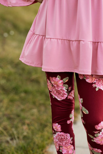Noelle Leggings in Floral Burgundy