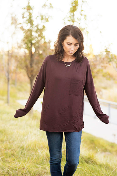 Dawn Knit Top in Wine