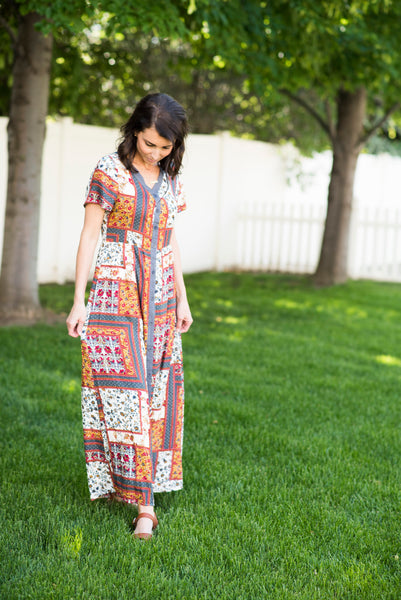 Jemma Patch Print Maxi in Red