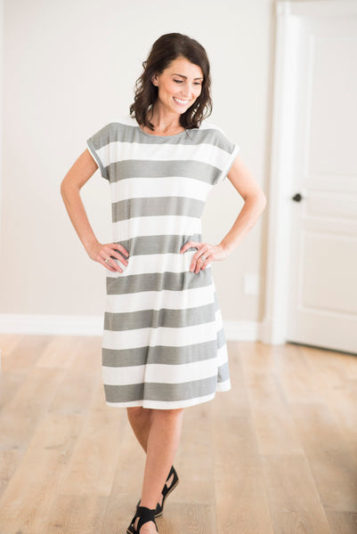 Averie Bold Stripe Dress in Charcoal
