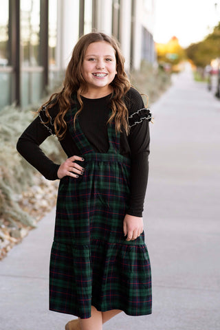 Plaid Overall Dress in Forest Green
