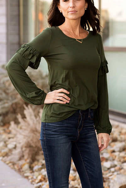 Corinne Long Sleeve with Ruffle Sleeve in Olive