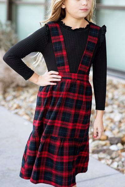 Plaid Overall Dress in Red