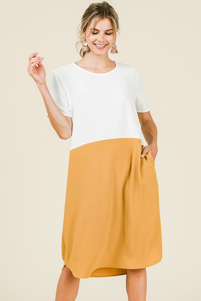 Kiara Colorblock Dress in Mustard