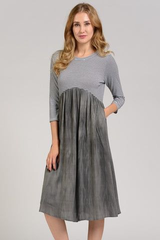 Gemma Striped Dress in Grey