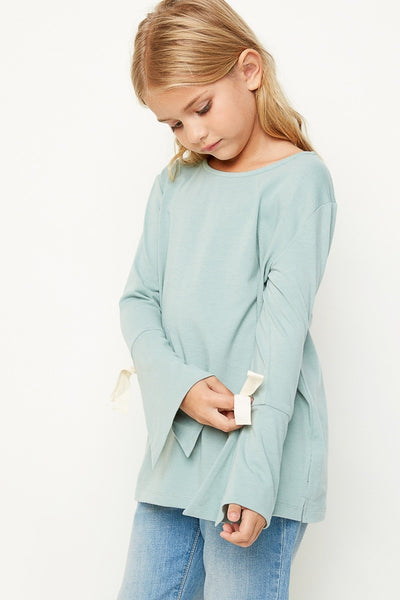 Victoria Bell Sleeve Tie Top in Sage