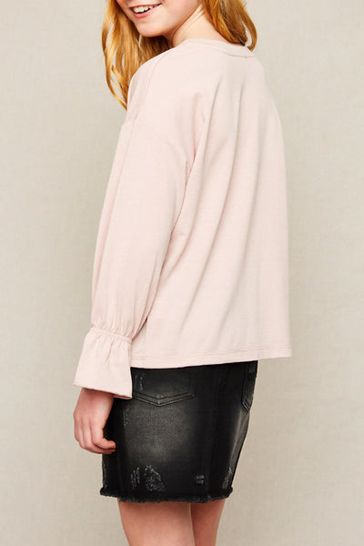 Megan Ruffled Cuff Top in Pink
