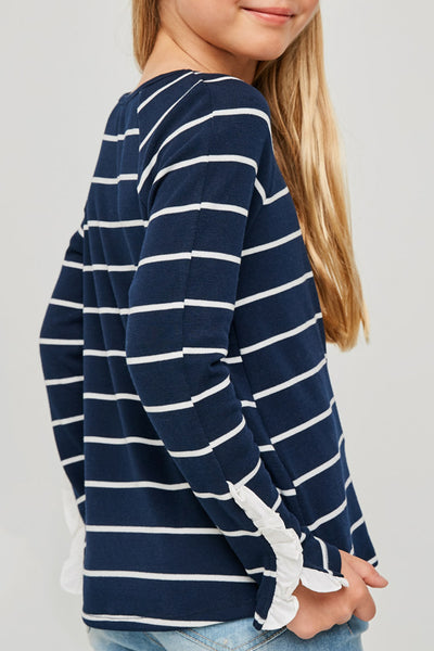 Alex Stripe Ruffle Sleeve Top in Navy