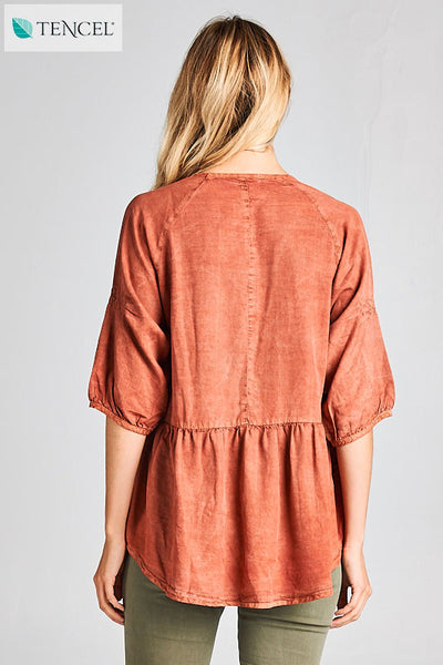Demi Half Sleeve Tencel Top in Brick