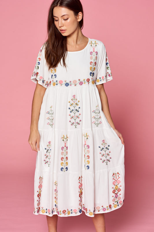 Alina Embroidered Dress in White