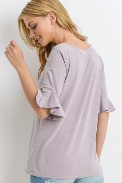 June Ruffle Sleeve Top in Plum