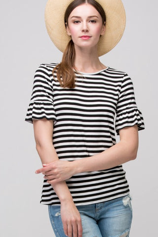 Penelope Ruffle Sleeve Top in Black Stripe