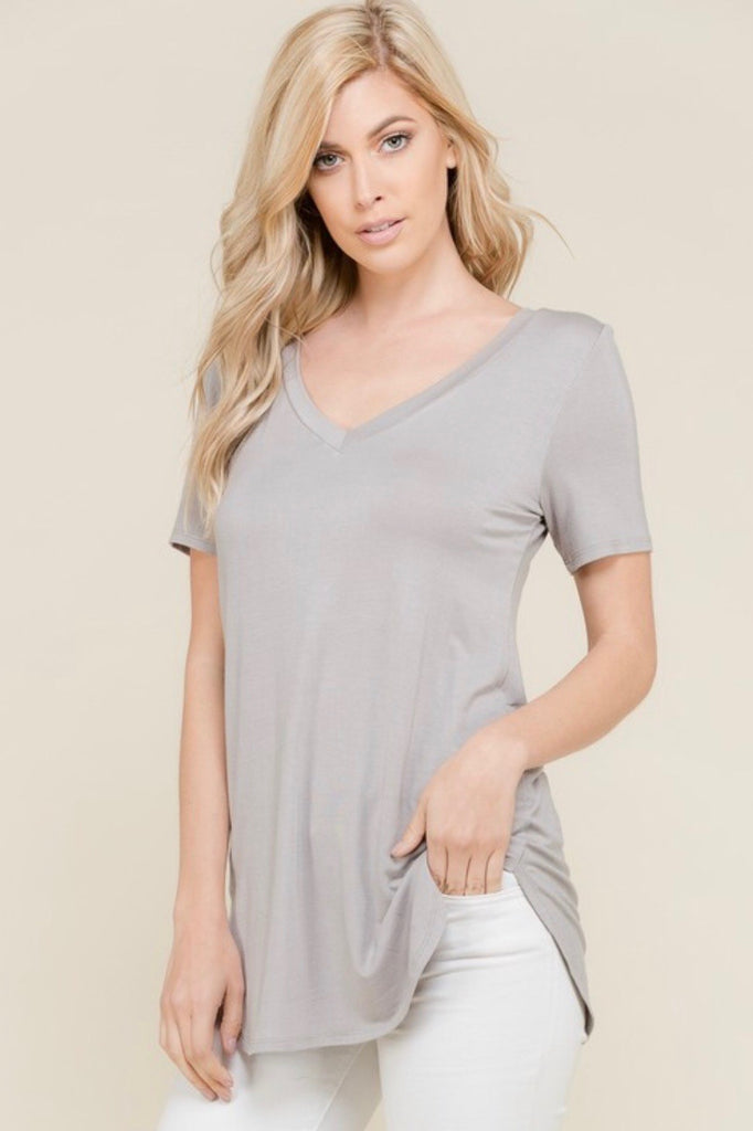 Brynlie V Neck Khaki Top