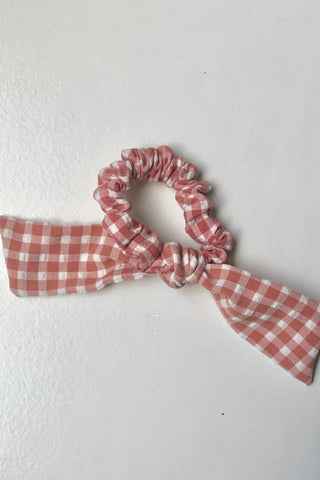 Blush & White Gingham Tie Scrunchie