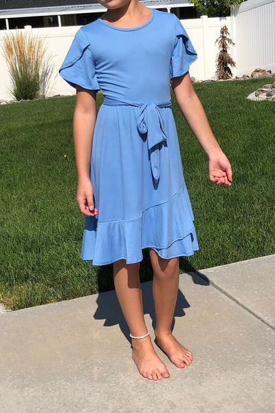 Elsie Ruffled Wrap Dress in Blue
