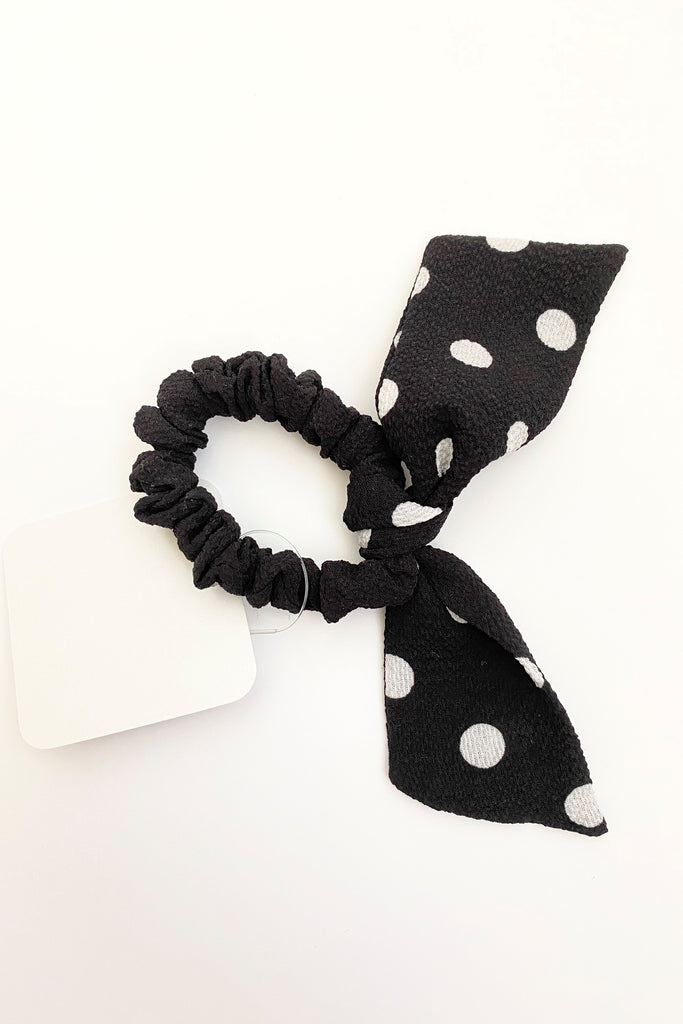Black Polka Dot Bow Scrunchie