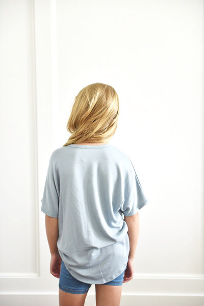 Abby Kids Loose Fit Button Top in Dusty Blue