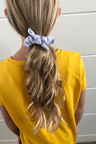 Blue/White Stripe Bow Scrunchie