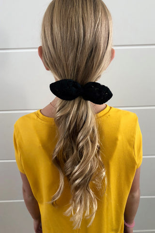 Black Eyelet Bow Scrunchie