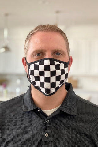 Adult Non-Medical Block Check Mask in Black/White